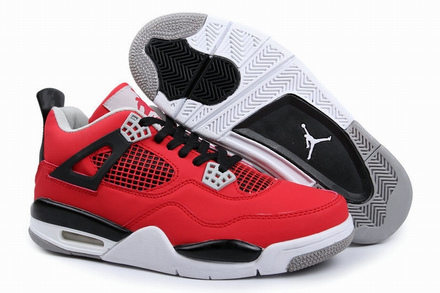 men jordan 4 red and white shoes-001
